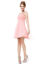 One Shoulder Ruffles Padded Chiffon Cocktail Dress Ep03537-Pink 3