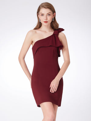 Ever-Pretty Women Fashion One Shoulder Burgundy Cocktail Party Dresses EP04020
