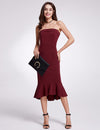 Fashion Strapless Bodycon Cocktail Dresses Ep05969-Burgundy 4