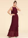 Women'S Elegant Two-Piece Sleeveless Layered Bridesmaids Dress Ep07173-Burgundy 6