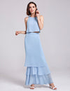 Women'S Elegant Two-Piece Sleeveless Layered Bridesmaids Dress Ep07173-Sky Blue 3