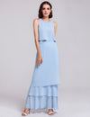 Women'S Elegant Two-Piece Sleeveless Layered Bridesmaids Dress Ep07173-Sky Blue 1