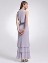 Women'S Elegant Two-Piece Sleeveless Layered Bridesmaids Dress Ep07173-Dark Lavender 2