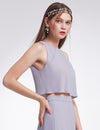 Women'S Elegant Two-Piece Sleeveless Layered Bridesmaids Dress Ep07173-Dark Lavender 3