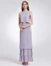 Women'S Elegant Two-Piece Sleeveless Layered Bridesmaids Dress Ep07173-Dark Lavender 1