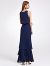 Women'S Elegant Two-Piece Sleeveless Layered Bridesmaids Dress Ep07173-Navy Blue 2