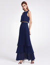 Women'S Elegant Two-Piece Sleeveless Layered Bridesmaids Dress Ep07173-Navy Blue 5