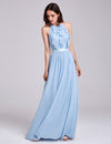 Women'S Elegant Halter Ruffles Adjustable Bridesmaids Dress Ep07201-Sky Blue 1