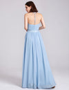 Women'S Elegant Halter Ruffles Adjustable Bridesmaids Dress Ep07201-Sky Blue 2