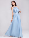 Women'S Elegant Halter Ruffles Adjustable Bridesmaids Dress Ep07201-Sky Blue 3