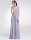 Women'S Elegant Halter Ruffles Adjustable Bridesmaids Dress Ep07201-Dark Lavender 1