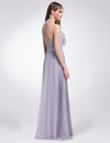 Women'S Elegant Halter Ruffles Adjustable Bridesmaids Dress Ep07201-Dark Lavender 2