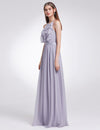 Women'S Elegant Halter Ruffles Adjustable Bridesmaids Dress Ep07201-Dark Lavender 3