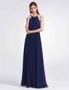 Women'S Elegant Halter Ruffles Adjustable Bridesmaids Dress Ep07201-Navy Blue 1