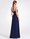 Women'S Elegant Halter Ruffles Adjustable Bridesmaids Dress Ep07201-Navy Blue 2