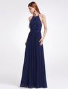 Women'S Elegant Halter Ruffles Adjustable Bridesmaids Dress Ep07201-Navy Blue 3