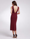 Fashion V Neck Sleeveless Dresses Ep07235-Burgundy 2
