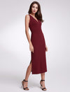 Fashion V Neck Sleeveless Dresses Ep07235-Burgundy 3