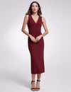 Fashion V Neck Sleeveless Dresses Ep07235-Burgundy 4