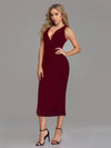 Fashion V Neck Sleeveless Dresses Ep07235-Burgundy 6