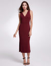 Fashion V Neck Sleeveless Dresses Ep07235-Burgundy 1