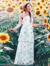Floral Print Halter Maxi Dress-Sky Blue 1