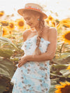 Floral Print Halter Maxi Dress-Sky Blue 2