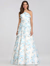 Floral Print Halter Maxi Dress-Sky Blue 7