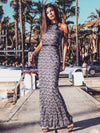 Women Fashion Lace Halter Sleeveless Evening Dresses Ep07322-Navy Blue 4