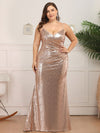 Plus Size Women'S Fashion Sequins Floor Length Spaghetti Straps Evening Dresses Ep07339-Rose Gold 1