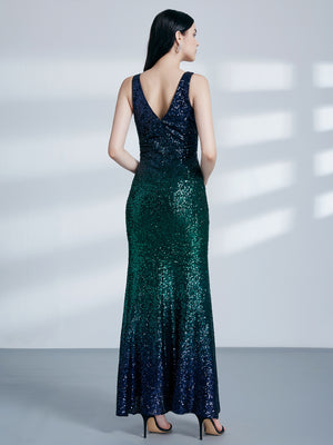 Ever-Pretty Women Fashion Sequins Floor Length Vneck Evening Dresses EP07345