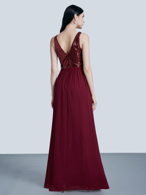 Ever-Pretty Women Fashion Sequins Chiffon Floor Length Vneck Evening Dresses EP07346