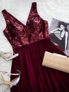 Women Fashion Sequins Chiffon Floor Length Vneck Evening Dresses Ep07346-Burgundy 2