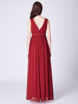 Ever-Pretty Scalloped Lace Deep V-Neckline Long Chiffon Red Prom Dress EP07351