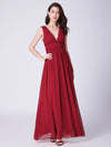 Ever-Pretty Scalloped Lace Deep V-Neckline Long Chiffon Red Prom Dress Ep07351-Red 4
