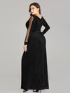 Women Elegant Deep V Neck Long Sleeves Evening Cocktail Dresses Ep07394-Black 2