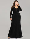 Women Elegant Deep V Neck Long Sleeves Evening Cocktail Dresses Ep07394-Black 1