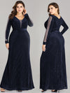 Women Elegant Deep V Neck Long Sleeves Evening Cocktail Dresses Ep07394-Navy Blue 1