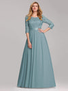 Elegant Empire Waist Wholesale Bridesmaid Dresses With Long Lace Sleeve-Dusty Blue 1