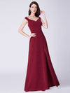 Cold-Shoulder Long Formal Evening Dress Ep07415-Burgundy 4