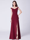 Cold-Shoulder Long Formal Evening Dress Ep07415-Burgundy 1
