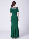 Long O-Neck Short-Sleeve Formal Evening Dress With Split Ep07488-Dark Green 2