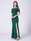 Long O-Neck Short-Sleeve Formal Evening Dress With Split Ep07488-Dark Green 3