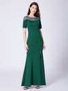 Long O-Neck Short-Sleeve Formal Evening Dress With Split Ep07488-Dark Green 4