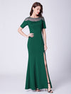 Long O-Neck Short-Sleeve Formal Evening Dress With Split Ep07488-Dark Green 1