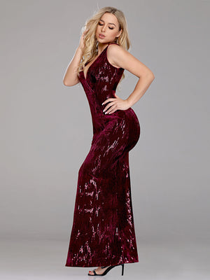 Ever-Pretty Women Elegant deep V Neck Sleeveless Sequin Evening Dress EP07506