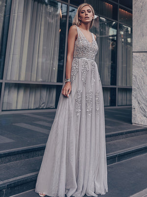 Ever-Pretty Women Fashion V Neck Sleeveless Long Evening Party Dress EP07544 (1937343971392)