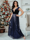 Floor Length Velvet And Sequin Evening Dress-Navy Blue 8
