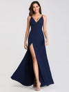 Women Fashion Sleeveless Split Long Evening Party Dress Ep07845-Navy Blue 4