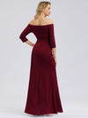 Women Fashion Strapless 3/4 Sleeve Split Long Cocktail Dresses Ep07852-Burgundy 2